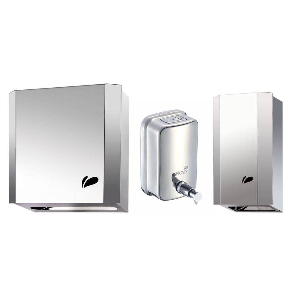 Kit Dispensers de Aço Inox - P/ Papel Hig. Cai Cai (cód 832) + Toalheiro (cód 833)c+ Saboneteira (cód 1011) - Biovis