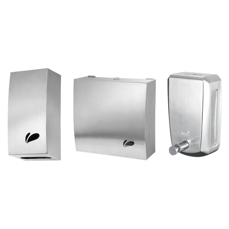 Kit Linha Noble c/ Dispenser p/ Papel Cai Cai Inox Escovado (1054) + Toalheiro em Aço Inox Escovado (1029) + Saboneteira em Aço Inox Noble 800ml (1016) - Biovis