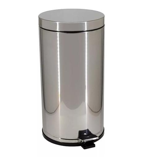 Lixeira 15 Litros em Aço Inox com Pedal e Recipiente Plástico - Viel