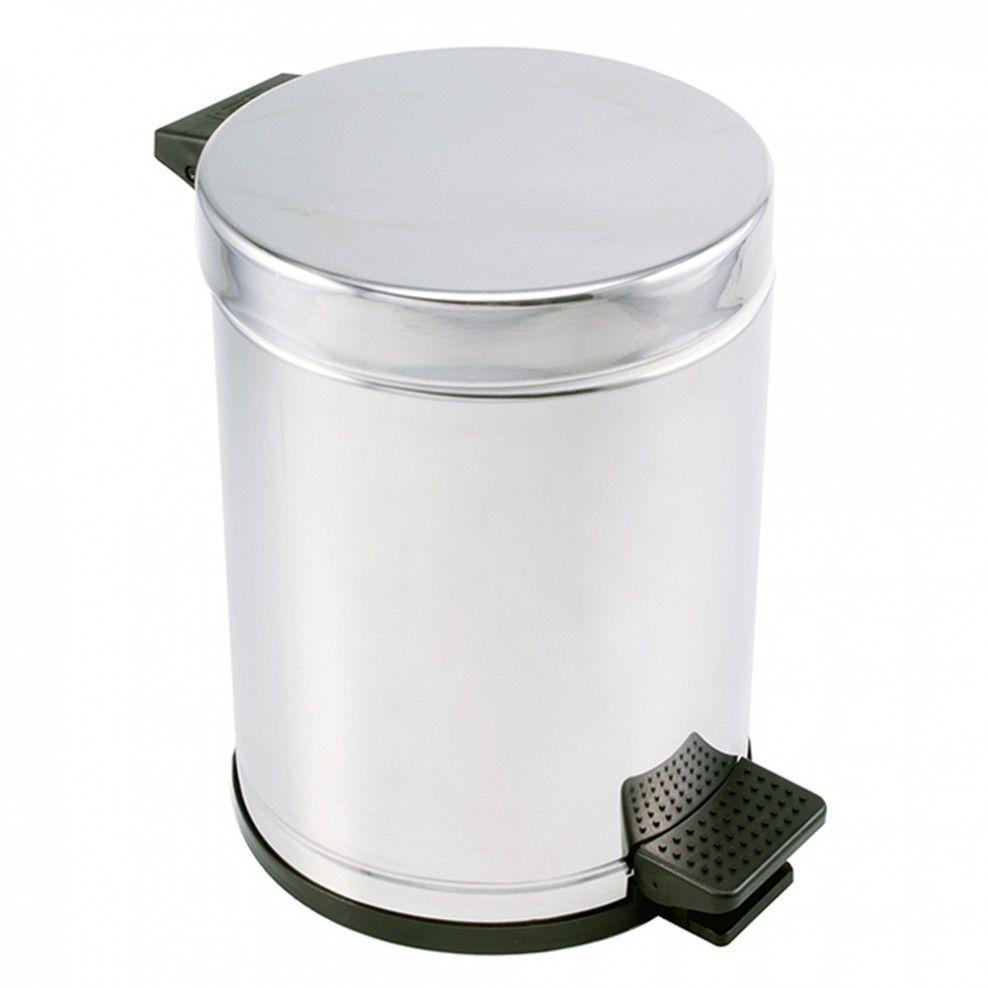 Lixeira em Aço Inox com Pedal e Recipiente Plástico - 4,5L Viel