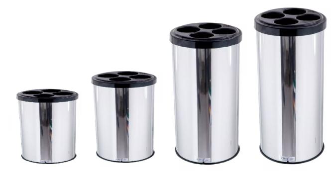 Lixeira para Copos Descartáveis Coletiva Inox Redonda - MetalSuga