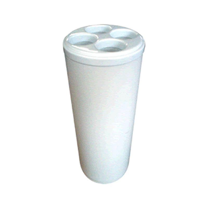 Lixeira Redonda c/ Tampa para Copos de Água Descartáveis Branca - Metalsuga
