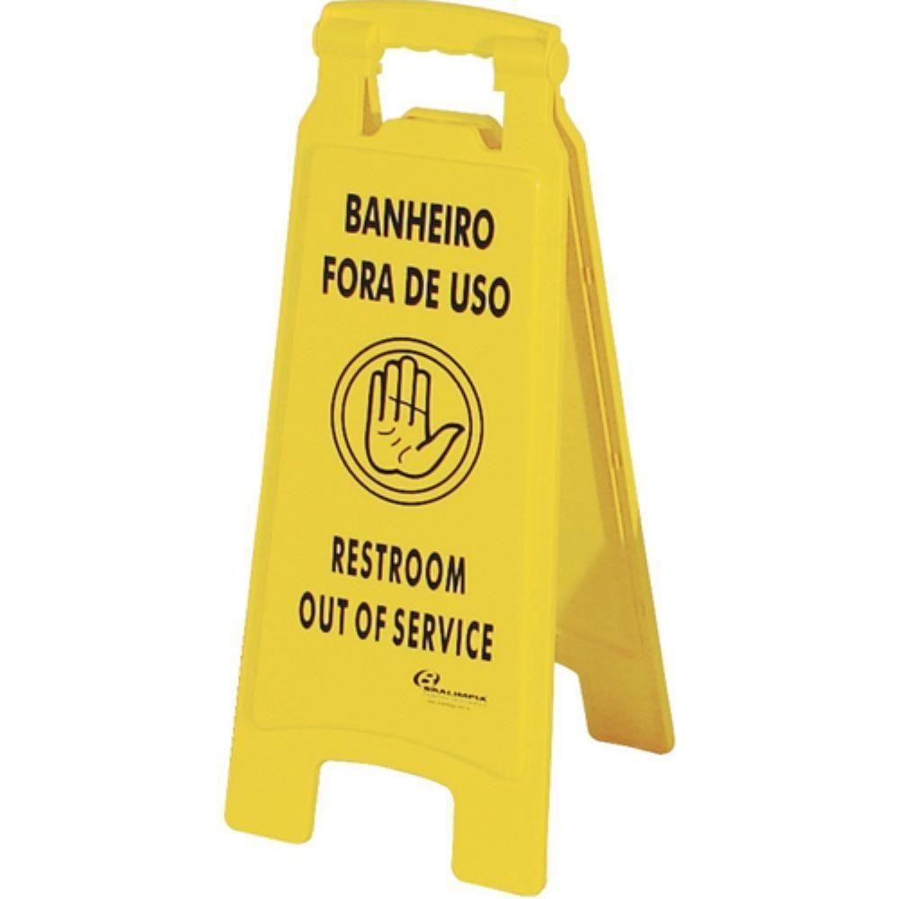 """Placa Sinalizadora """"Banheiro Fora de Uso"""" - Bralimpia"""