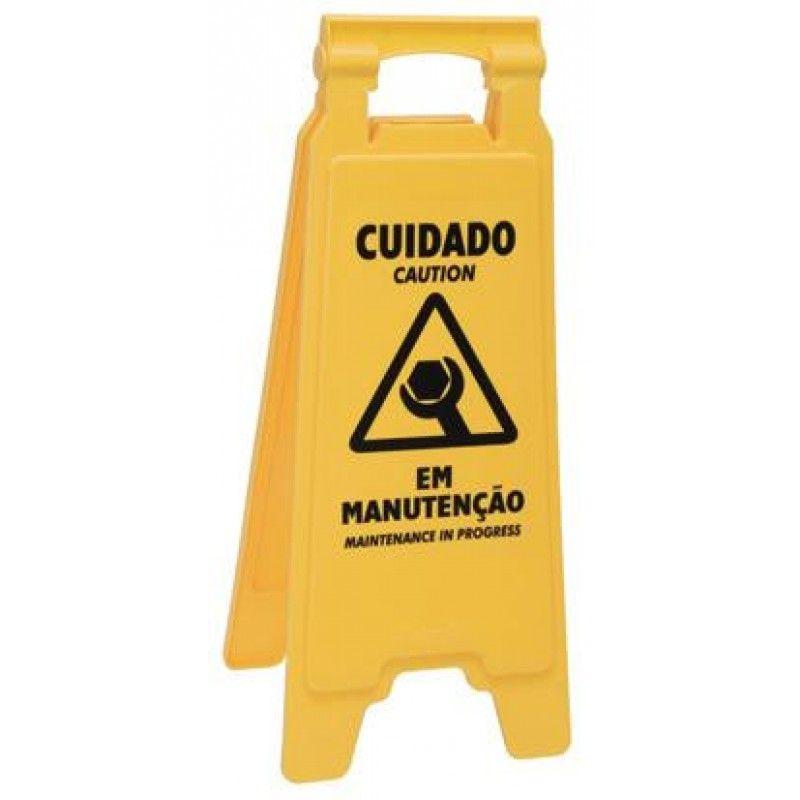 Placa sinalizadora: Cuidado em manutenção - 14978 - ref. 1708 - Rubbermaid