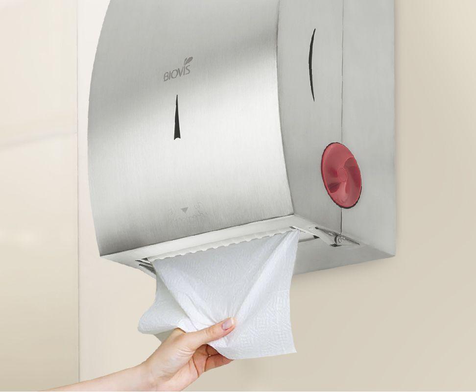 Dispenser Papel Toalha Bobina Autocorte Aço Inox Noble - Biovis