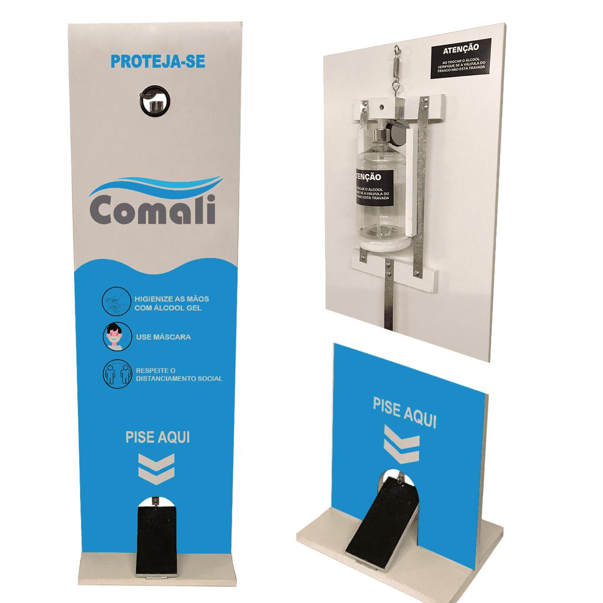 Totem Higienizador em MDF - Dispenser de Álcool em Gel com Pedal