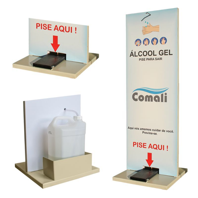 Totem Higienizador em Aço - Dispenser de Álcool em Gel com Pedal