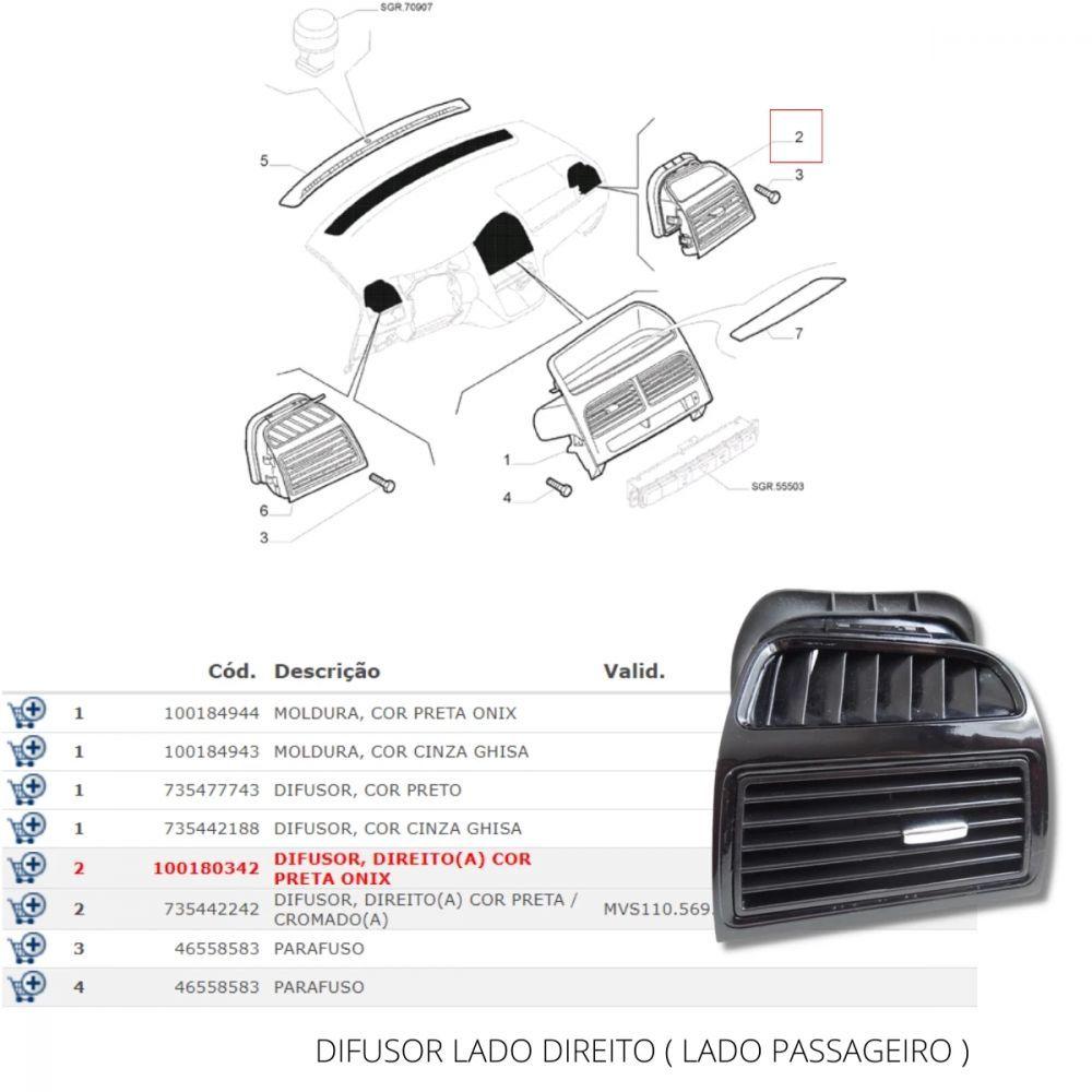 DIFUSOR LADO DIREITO PRETO ONIX FIAT LINEA 08-14 - ORIGINAL