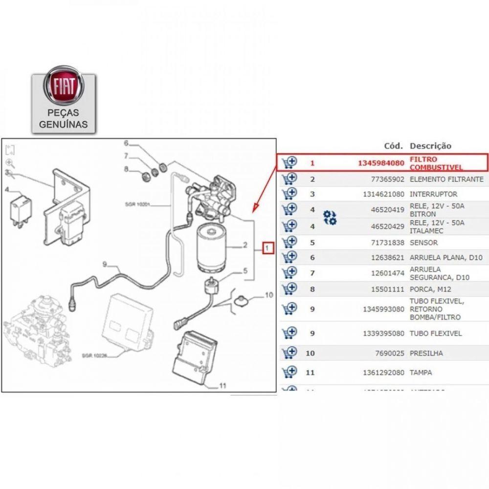 FILTRO COMBUSTÍVEL DUCATO/BOXER/JUMPER 2.3 16V MULT (10/...)