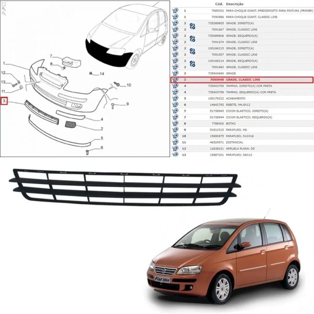GRADE DIANTEIRA IDEA 20016 - 2010 (CLASSIC LINE)