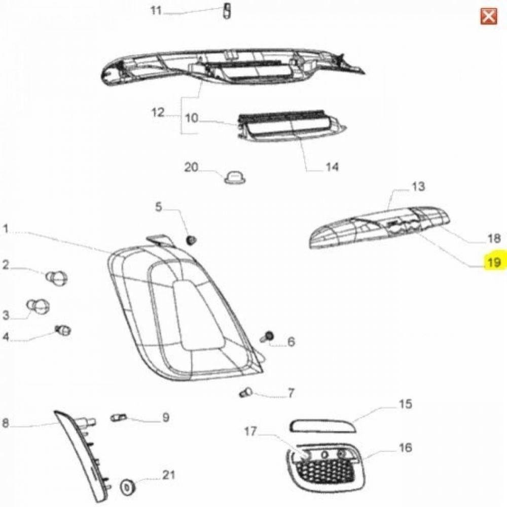 LANTERNA PLACA FIAT 500 - LADO ESQUERDO (MOTORISTA)