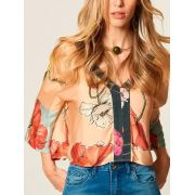 BLUSA CROPPED ESTAMPA BLUE GARDEN