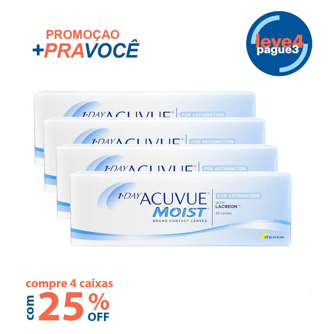 1-day Acuvue Moist para Astigmatismo Leve 4 pague 3