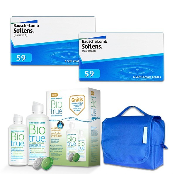 Combo: 2 cxs Soflens 59 + Biotrue PackOn + Necessaire