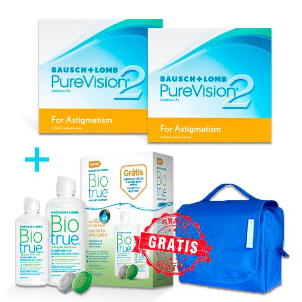 Compre 2 cxs Purevision2 Toric w ganhe 1 Biotrue PackOn + Necessaire