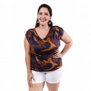 Blusa Feminina Estampada Decote  V Plus Size