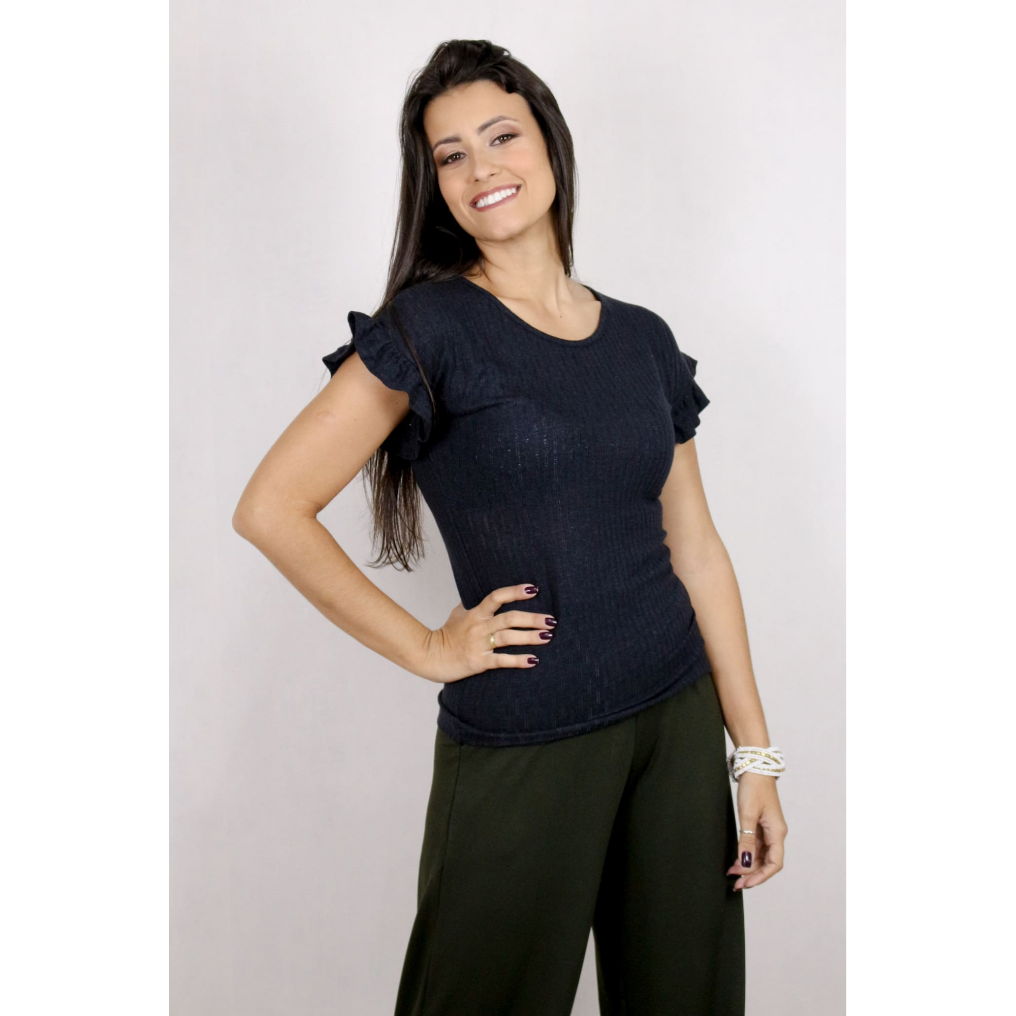 Blusa Feminina Canelada Básica