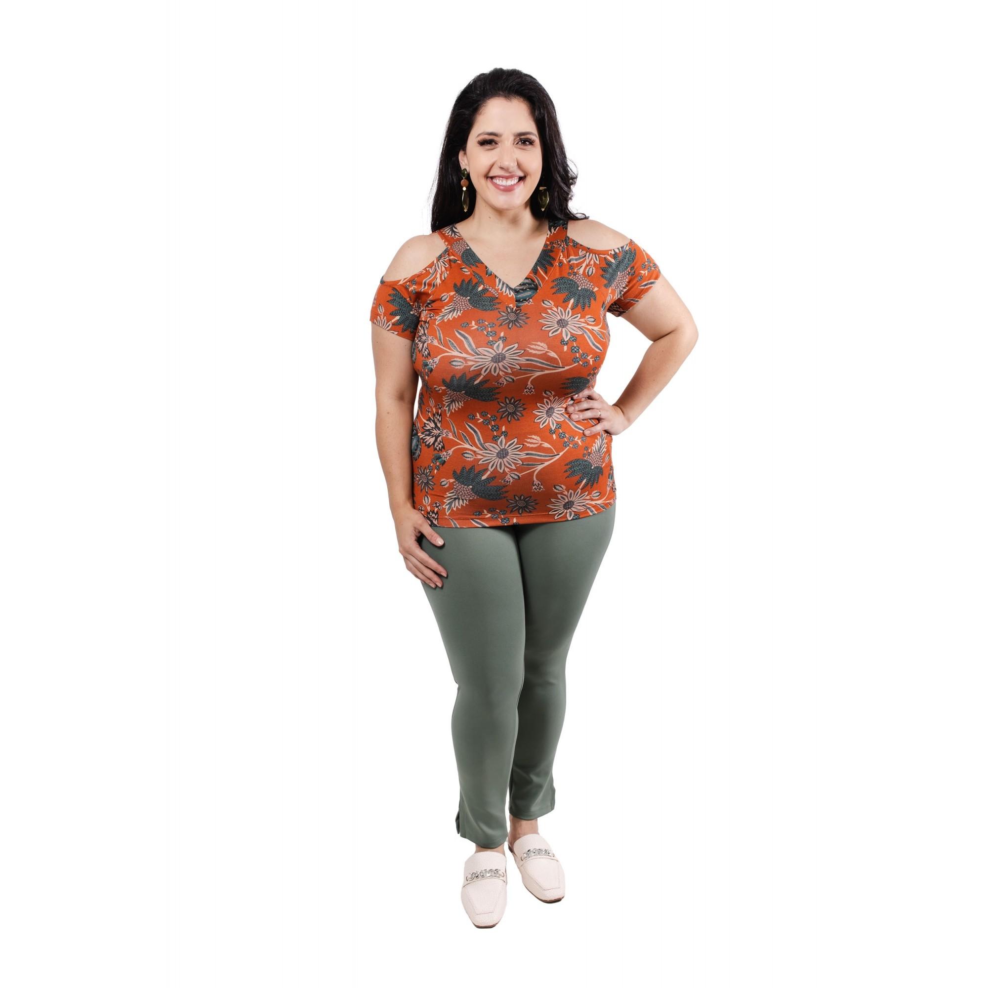 Blusa Feminina Estampada Ombros Abertos Plus Size