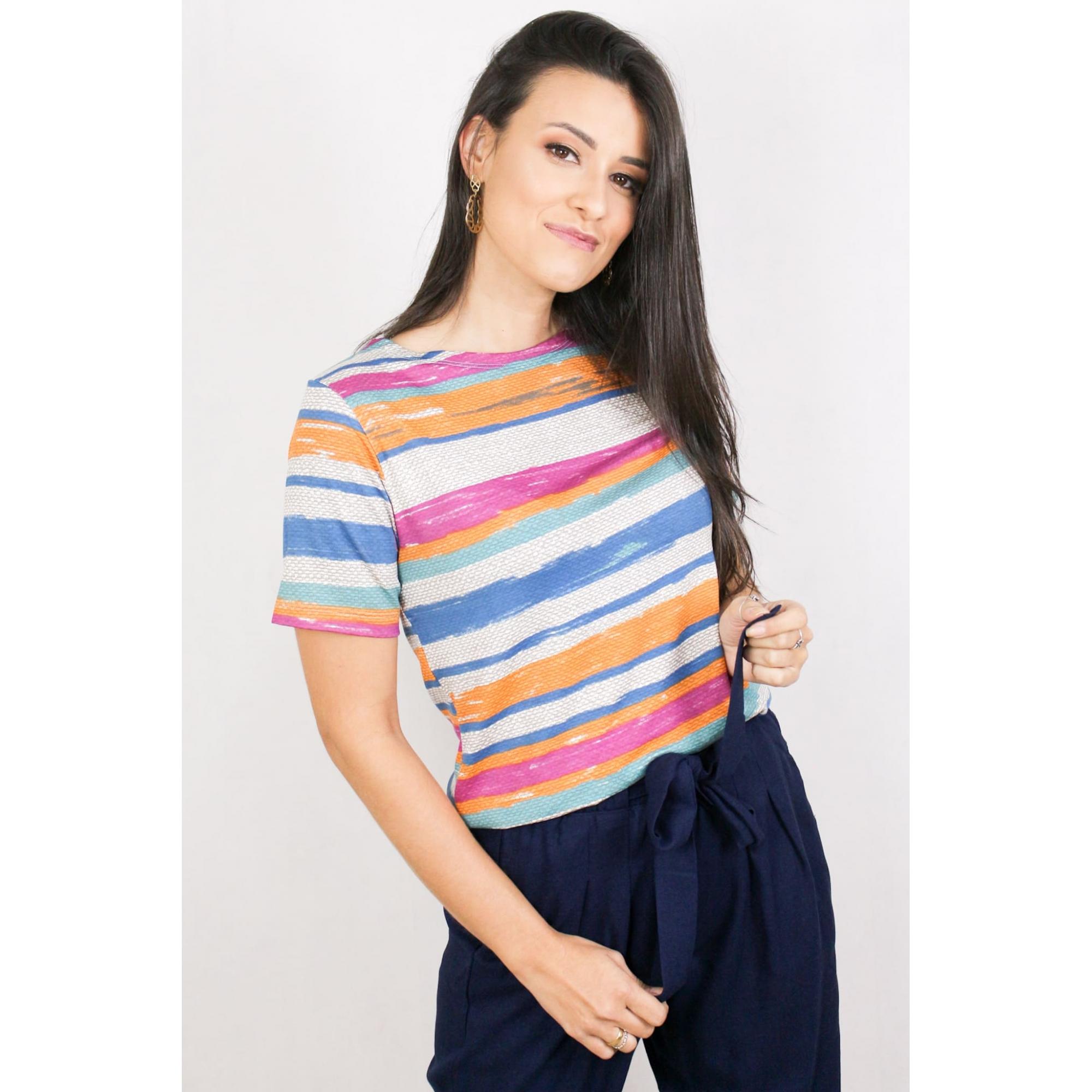 Blusa Feminina Manga Curta Estampada