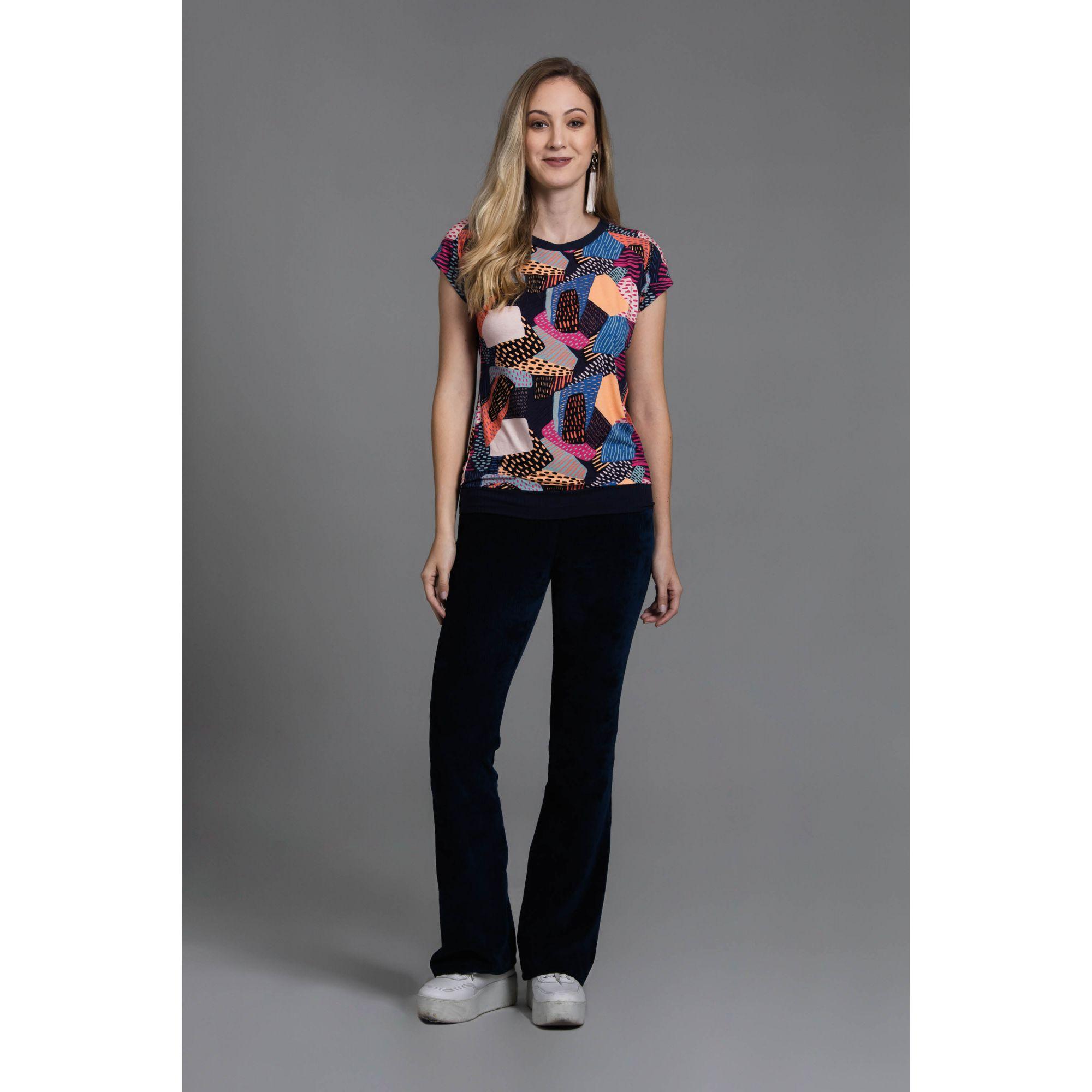 Blusa Formas Coloridas Plus Size