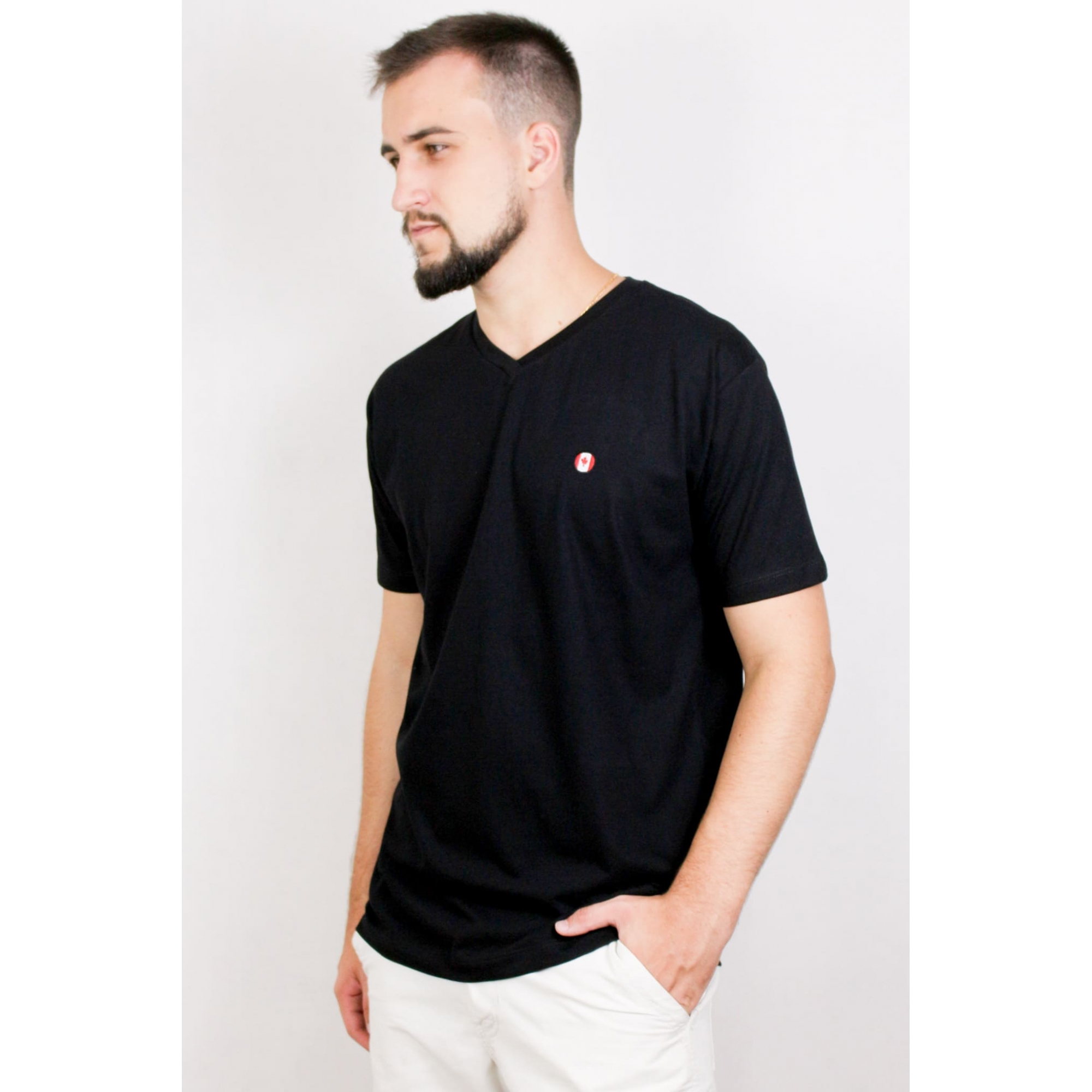 Camisa Masculina Manga Curta Gola V
