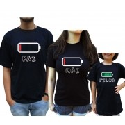 Kit Camiseta Pilha Família C/3