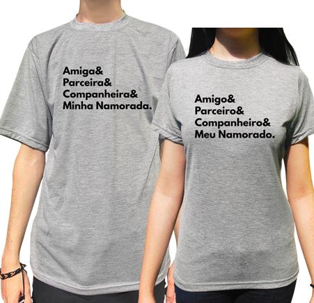 Kit Camiseta Amiga (o) & Parceira (o) & Companheira (o) Namorados