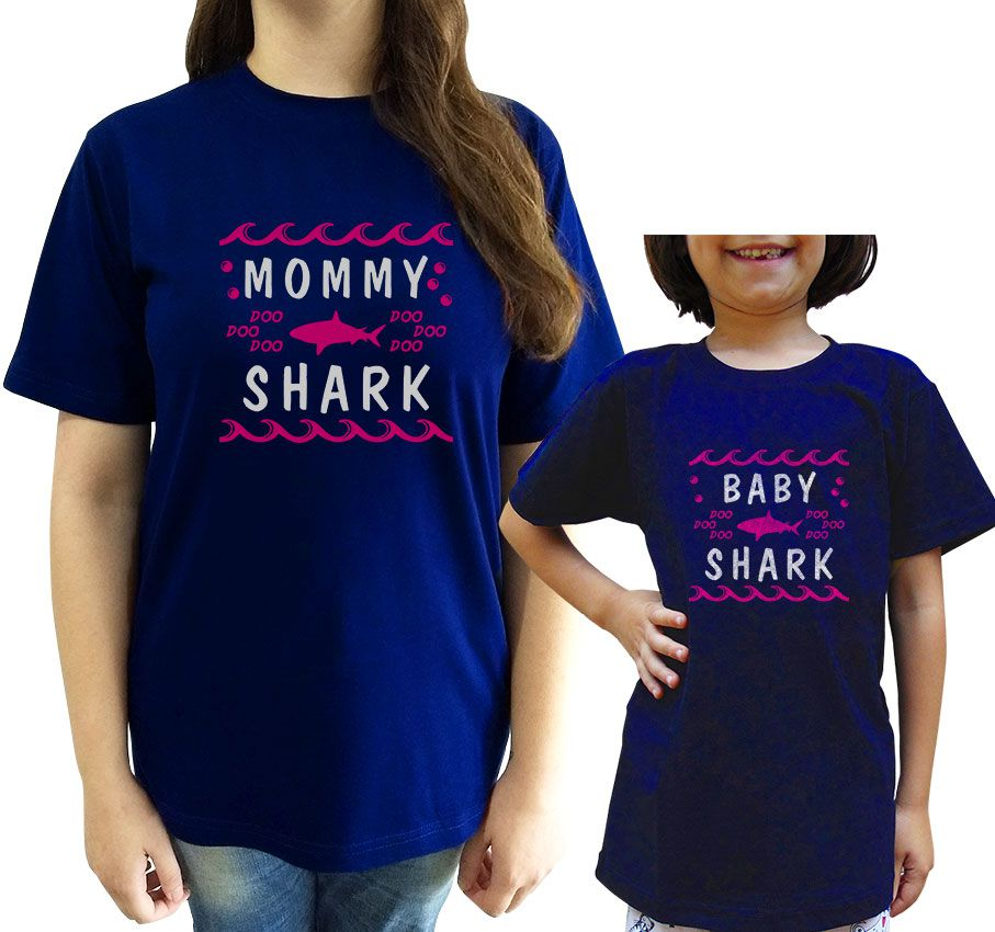 Kit Camiseta Baby Shark Mae e Filho/a