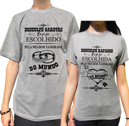 Kit Camiseta Fui Escolhido (a) Pelo (a) Melhor Namorado (a)