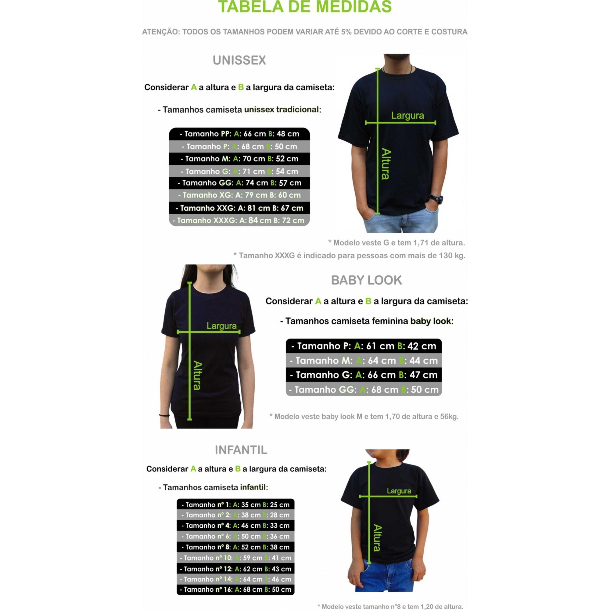 Kit Camiseta Pilha Família C/3 - Tabela de medidas