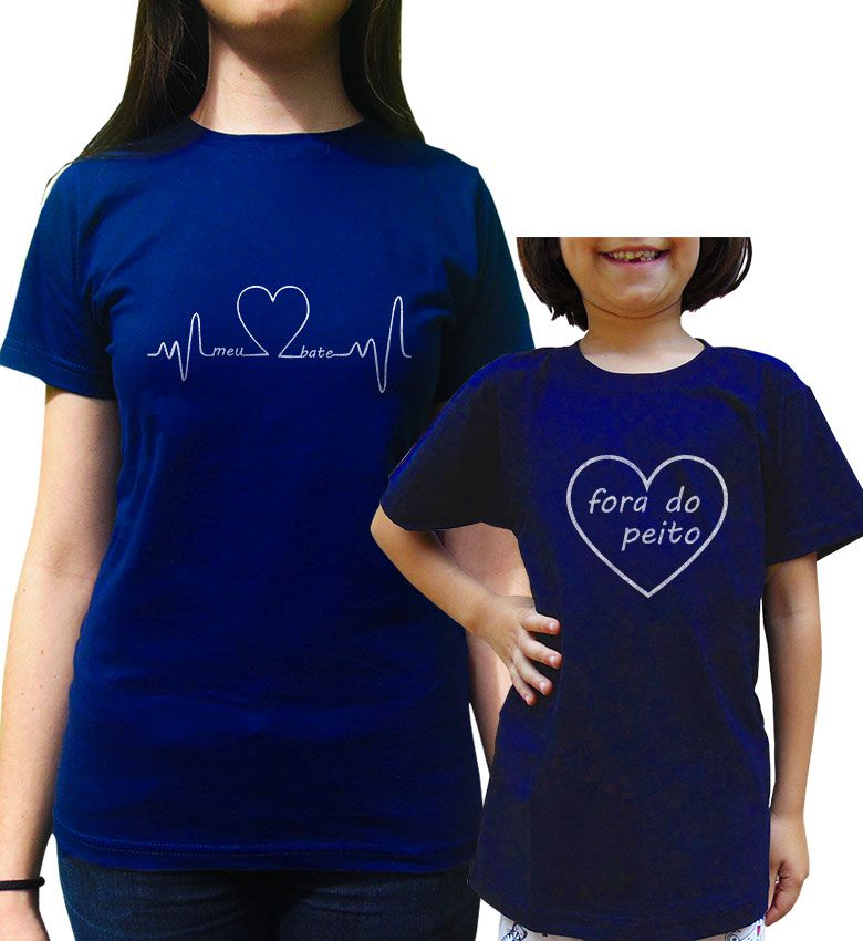 Kit Camiseta Tal Mae Tal Filho/a Coração Bate Fora do Peito
