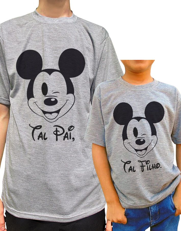 Kit Camiseta Tal Pai Tal Filho/a Mickey Minnie
