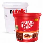 Balde de Nutella 3kg + Pasta Cremosa De KitKat 1kg