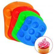 Forma de silicone de cupcake com 9 Divisórias 21X27 (Cores Variadas) ROCIE