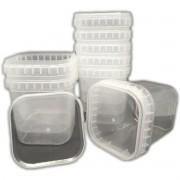 Kit 100 Potes Com Lacre 500ml Quadrado Transparente