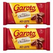Kit C/2 Barra De Chocolate Ao Leite Garoto 2,1kg Profissional