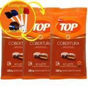 Kit C/3 Cobertura Fracionada sabor Chocolate Ao Leite Gotas 2,1 kg Top Harald