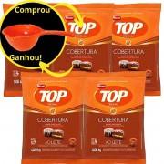 kit C/5 Cobertura Fracionada sabor chocolate ao Leite Gotas 1,05kg Top Harald