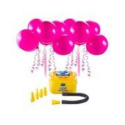 Inflador Elétrico Kit C/16 Balões Rosa Regina