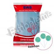 Palito Pirulito Azul com 100 unidades Nº9 Pequeno BWB