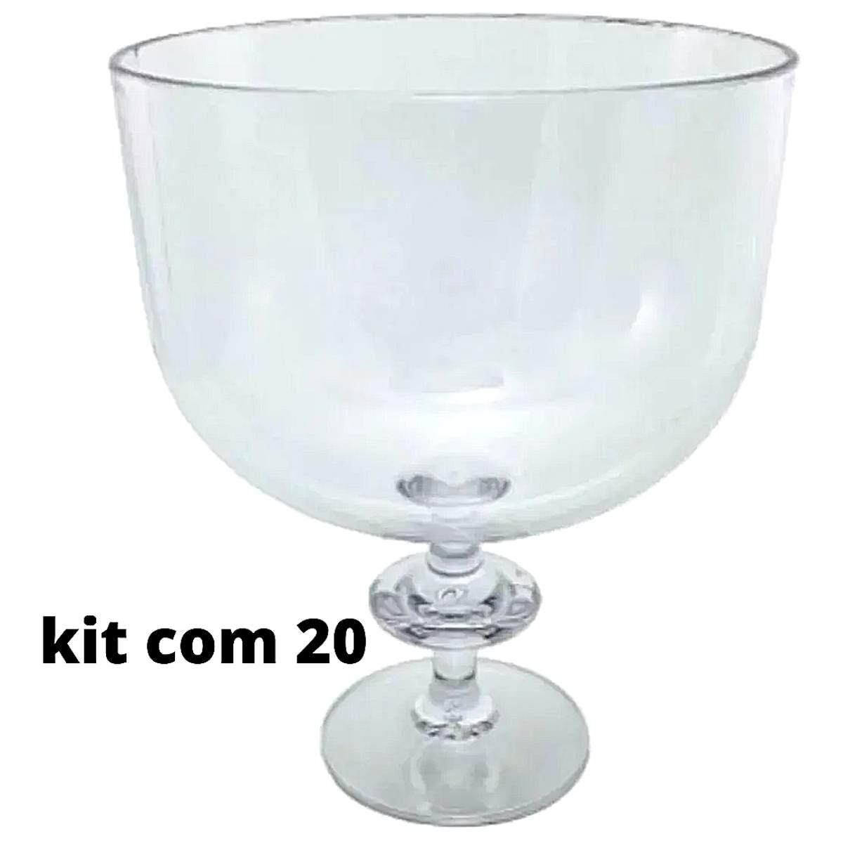 20 Taças Americana De Acrílico Transparente 1250ml Sem Tampa