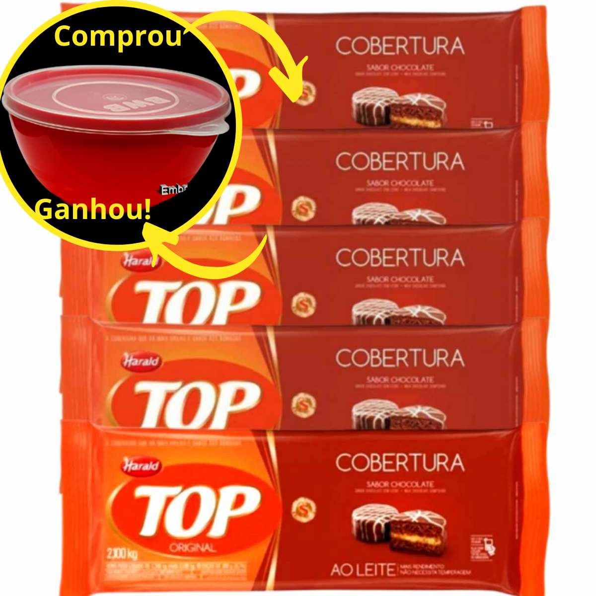 5 Cobertura Fracionada sabor Chocolate Ao Leite 2,1 kg Top Harald