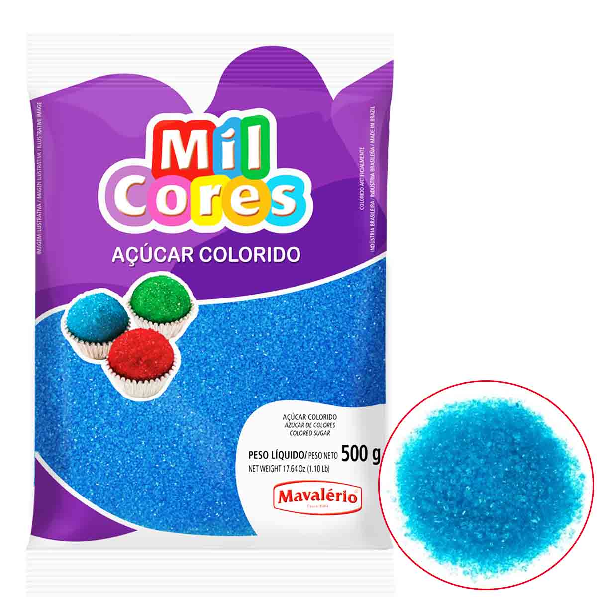 Açúcar Colorido Azul Mil Cores Mavalério 500g