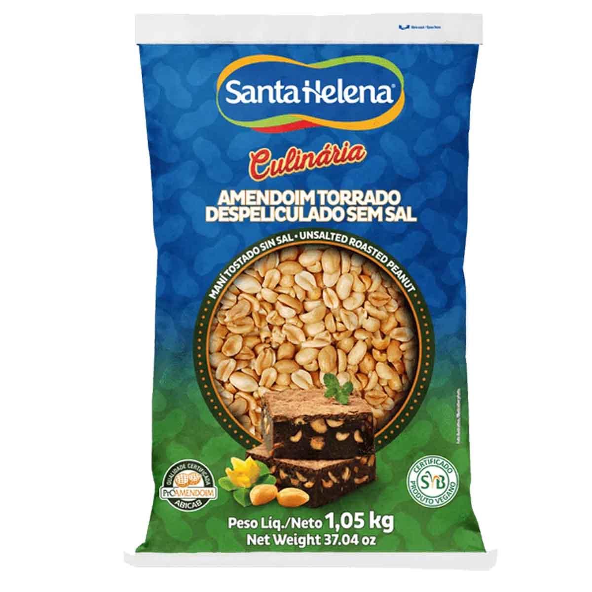 Amendoim Torrado Despeliculado  Sem Sal 1,05kg Santa Helena