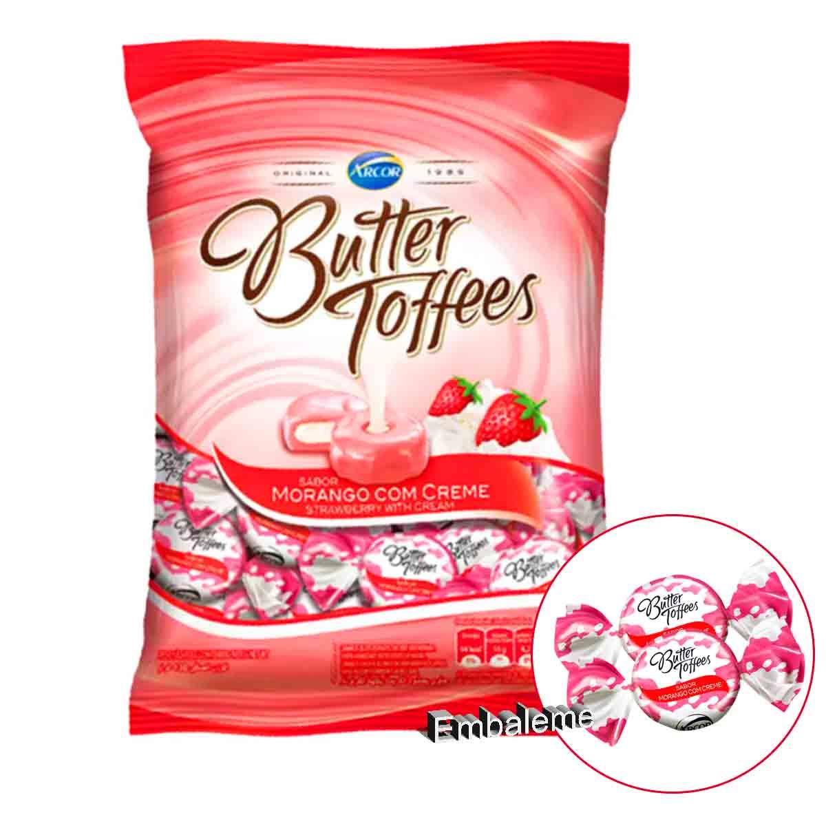 Bala Butter Toffees Morango com Creme 500G Arcor