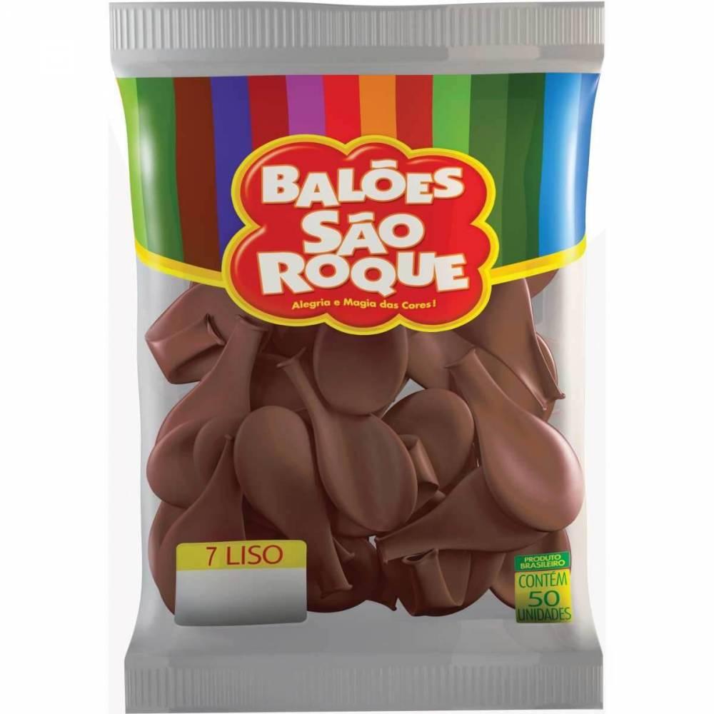 Balão Café Brasil Marrom Liso Número 7 São Roque c/50 Unidades