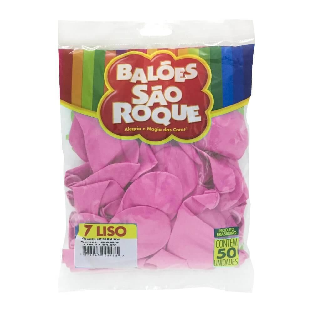 Balão Rosa Tutti Frutti Liso Número 7 São Roque c/50 Unidades
