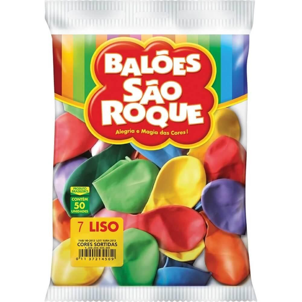 Balão Sortido Colorido Liso Número 7 São Roque c/50 Unidades