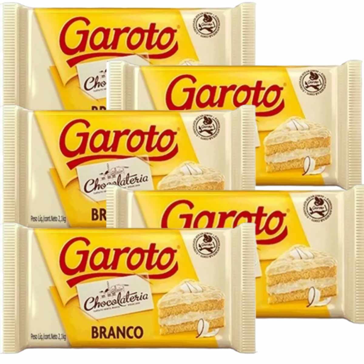 Barra de Chocolate Branco 2,1kg Garoto 5 unidades