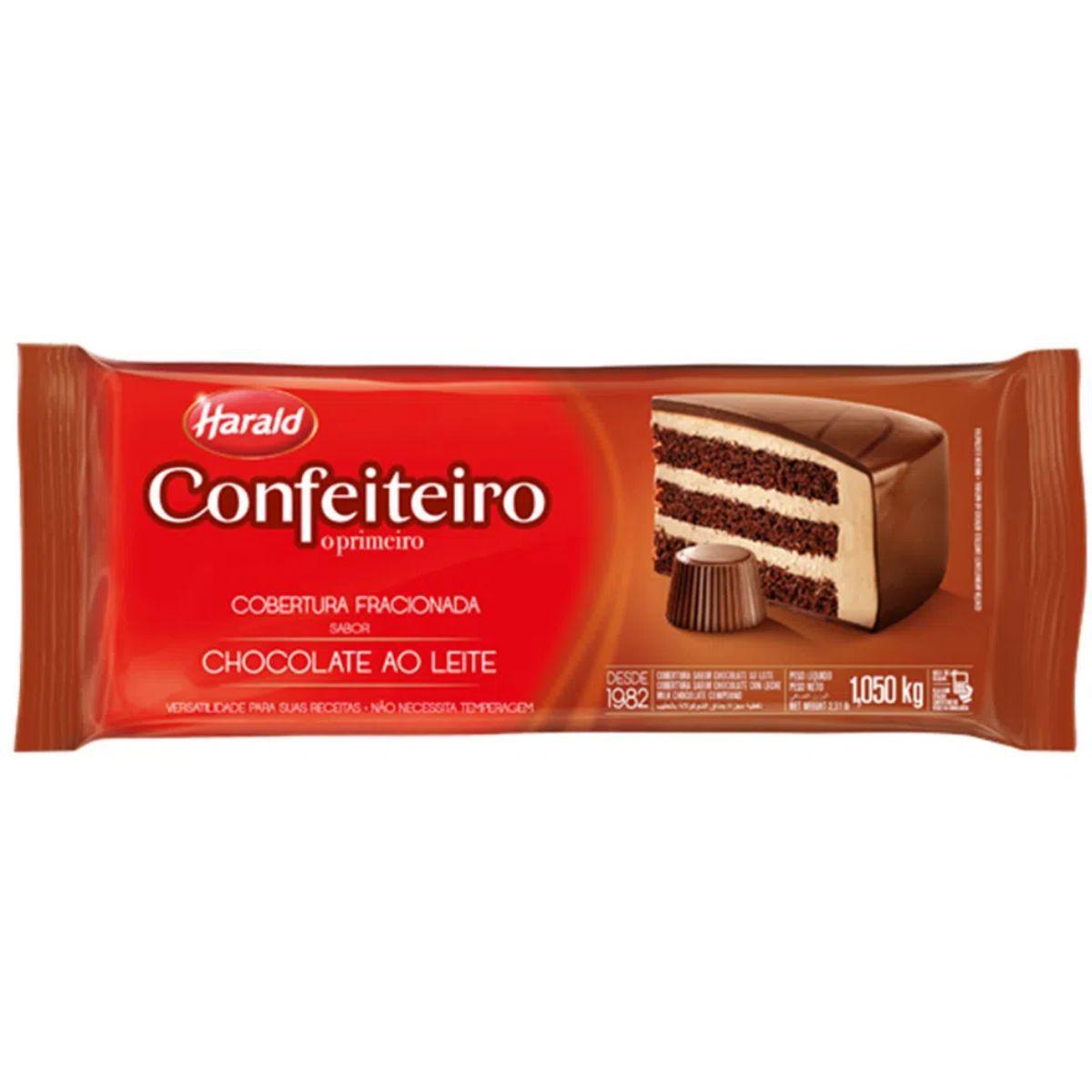 Barra de Chocolate Fracionado Confeiteiro Ao Leite 1,05kg - Harald